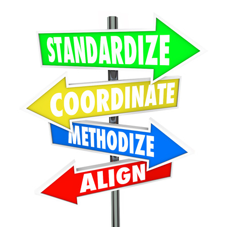 regulated: Standardize, Coordinate, Methodize and Align words on arrow signs pointing you toward consistent business processes, systems and procedures Stock Photo