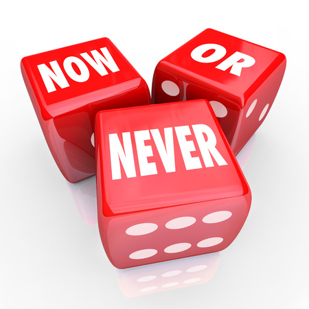 urging: Now or Never words on three red dice to illustrate a limited offer or opportunity for you to take advantage of while it lasts