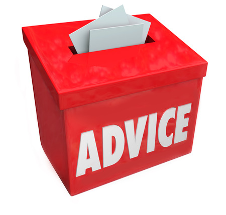 Advice word on a red suggestion box soliciting comments, feedback, ideas and input for improvement photo