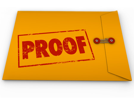 causation: Proof word stamped on a yellow envelope containing documents as evidence or testimony in a court case or other dispute