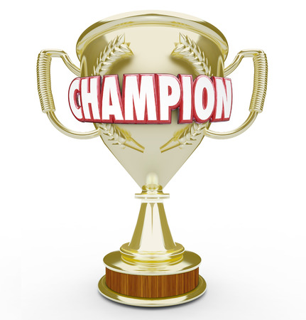 succeeding: Champion word in red 3d letters on a golden trophy or prize awarded to best or top student, athlete or performer Stock Photo