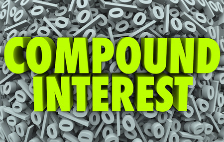 Compound Interest words on a background of perecent symbols or signs to illustrate growing income or wealth through savings and investment