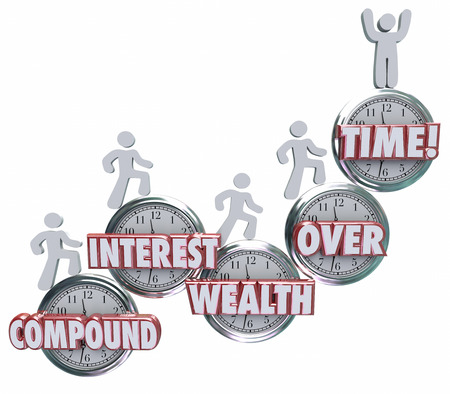 Compound Interest Wealth Over Time words on clocks and investors growing wealth by saving or investing income and earnings