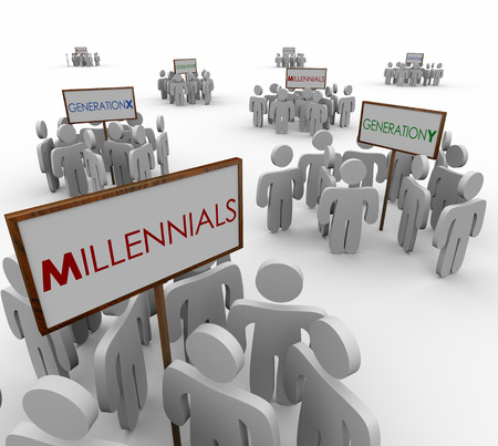 Generation X, Y and Millenials gathered around signs to illustrate networks or audiences of young people in a demographic market or customer base