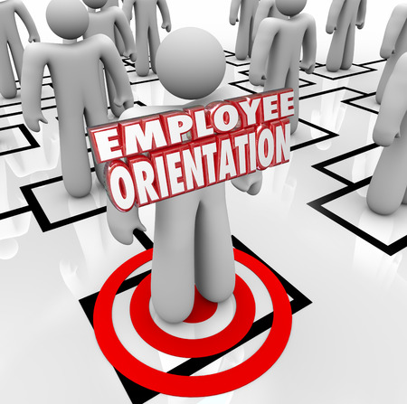 new employee: Employee Orientation words on a new worker standing on an organization chart being introduced to the team or workforce Stock Photo