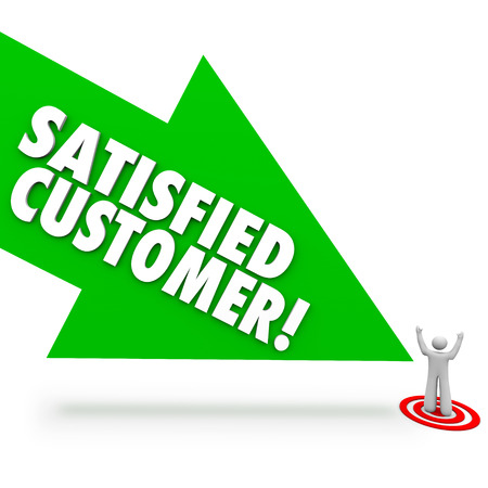 satisfying: Satisfied Customer words on a green arrow pointing at a person who is happy or content with service or support from your company or business