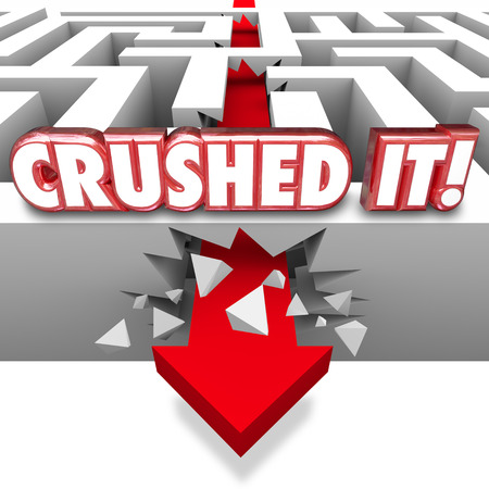 Crushed It words in 3d red letters on a maze wall with arrow crashing through to boast of a great job on a finished task, goal or objective Фото со стока