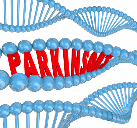antidote: Parkinsons disease 3d letters spelling word in dna strands to illustrate medical research to treat or cure the neurological or nervous system disorder or condition Stock Photo