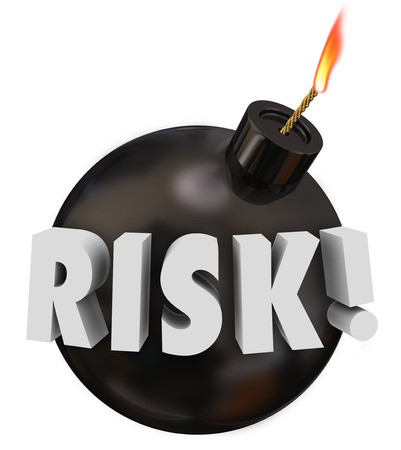 risky behavior: Risk word in 3d letters on a black round bomb to warn you of potential danger or problems Stock Photo