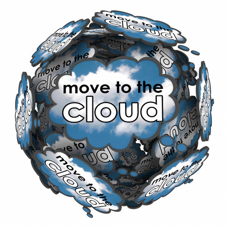 accessing: Move to the Cloud words in thought clouds or bubbles to illustrate shifting files, software or operating system to online or internet based servers or services