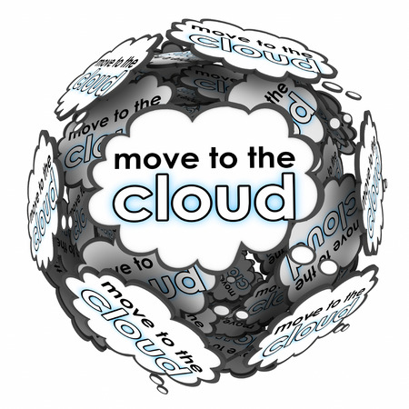 accessing: Move to the Cloud ideas, thoughts or words in bubbles to illustrate a shift or transition to web or internet based servers or services Stock Photo
