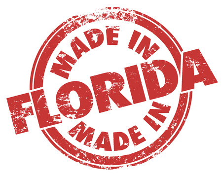 round logo: Made in Florida words in round red stamp in grunge style to illustrate pride in products or services from the southestern state in the United States of America or USA