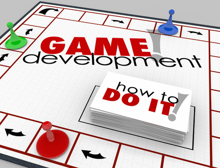 designer: Game Development words on a board game with cards reading How to Do It to teach you software or app computer programming and engineering development Stock Photo
