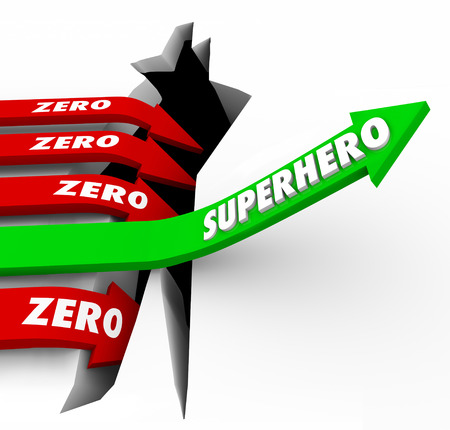performer: Superhero word on a green arrow rising above opposite Zero arrows falling to illustrate one who is top performer or best at work in getting jobs or tasks done with great results