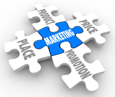 Markeing mix concept with four ps on puzzle pieces including the main principles of product, place, price and promotion