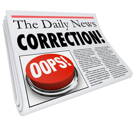 public offering: Correction word in a newspaper headline to illustrate a fix or revision to an error or mistake in a report in a news article or story