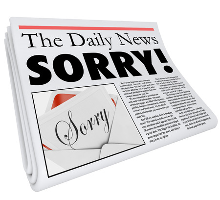 plea: Sorry word in a newspaper headline to communicate a message of apology for bad reporting or an error in an article Stock Photo