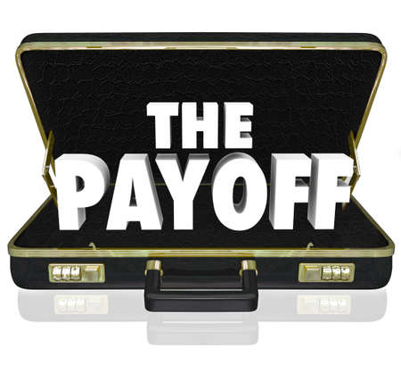 The Payoff 3d words in a black leather briefcase to illustrate the benefits or features of a new signed contract or deal for a business or company Stock Photo