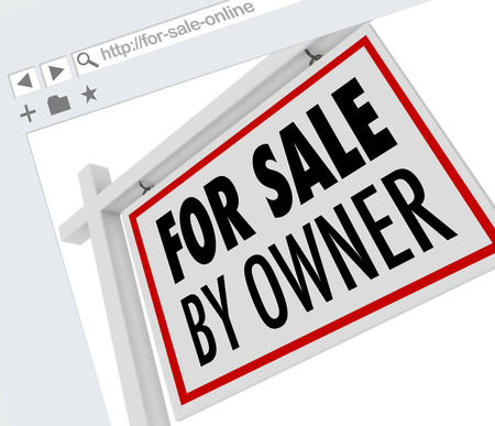website words: For Sale by Owner words on a real estate sign on online, website or internet service of listings selling homes or houses