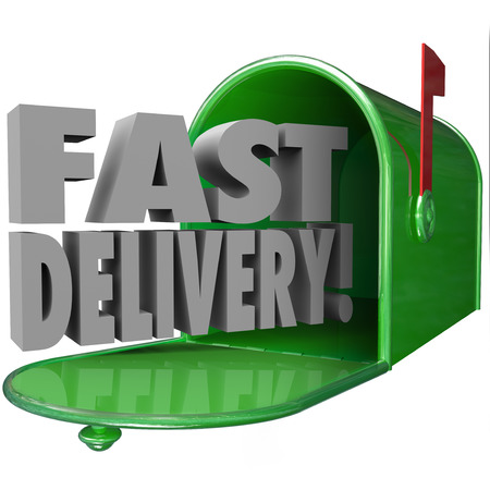 shipped: Fast Delivery 3d words in metal green mailbox to illustrate quick, expedited mail service and special customer support and attention