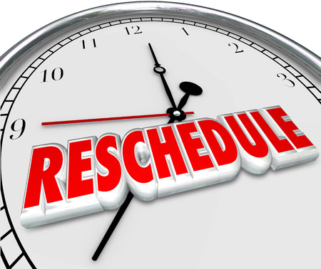 postpone: Reschedule word in 3d letters on a clock face to illustrate an appointment or meeting cancelled, delayed or postponed