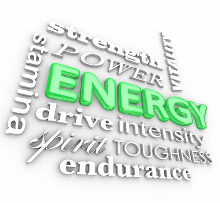 Energie 3d Wort in einer Collage mit verwandten Begriffen Kraft, Vitalität, Kraft, Ausdauer, Antrieb, Intensität, Geist, Zähigkeit, Ausdauer