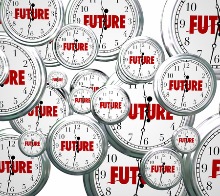 Circumstance: Future word on clocks moving forward toward tomorrow or next time advancing Stock Photo