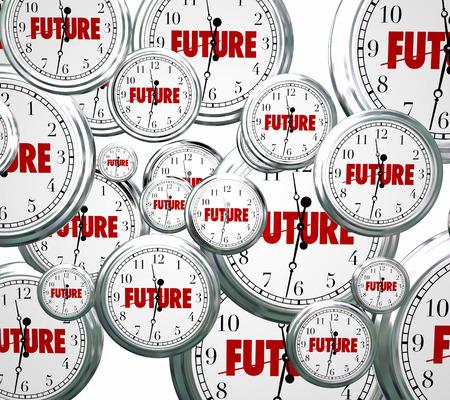 fateful: Future word on clocks moving forward toward tomorrow or next time advancing Stock Photo