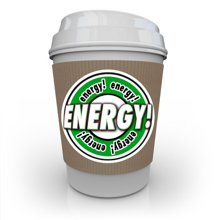 succeeding: Energy word on coffee cup sleeve to illustrate a drink or beverage infused with caffeine, protein, vitamins or other nutritional additives to give you power and strength