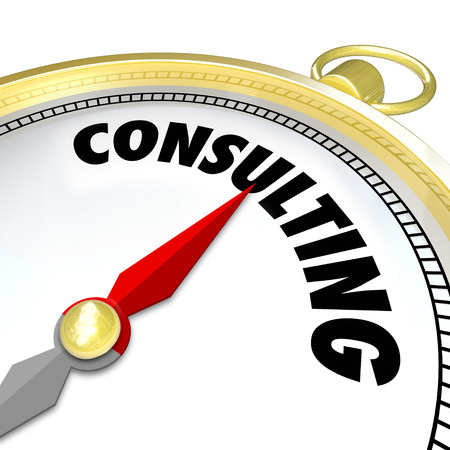 specialize: Consulting word on a gold compass to illustrate guidance or direction from a professional with expertise and experience in solving problems