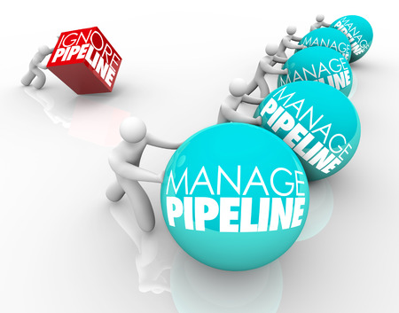 Manage Pipeline words on balls pushed by winning business people and one person struggling by ignoring his sales pipeline and losing customers Stok Fotoğraf