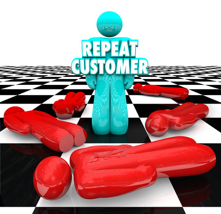 business products: Repeat Customer words on a person standing as a loyal, satisfied, faithful return client for your company or business products and services Stock Photo