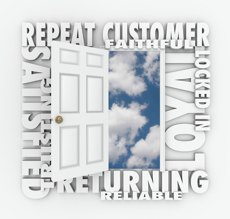 relying: Repeat Customer words over an open door with words such as satisfied, loyal, trusting, returning, faithful and reliable