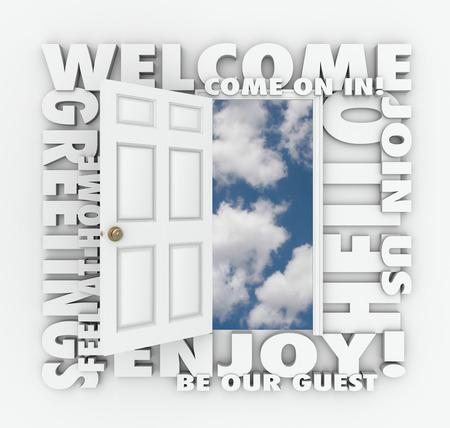 amabilidad: Palabras de bienvenida alrededor de una puerta abierta para ilustrar conceptos como la invitaci�n, saludos, disfrute, hu�spedes, servicio, amabilidad y unirse Foto de archivo