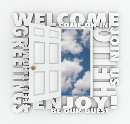 friendliness: Welcome words around an open door to illustrate concepts like invitation, greetings, enjoyment, guest, service, friendliness and joining