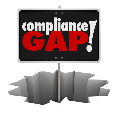 Naleving Gap woorden op een bord in een gat om een waarschuwing voor gevaar te illustreren in het niet volgen van de regels, voorschriften, richtlijnen en wettelijke vereisten