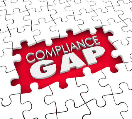 risky behavior: Compliance Gap words in a puzzle hole to illustrate not following rules, laws, regulations, standards, guidelines or requirements