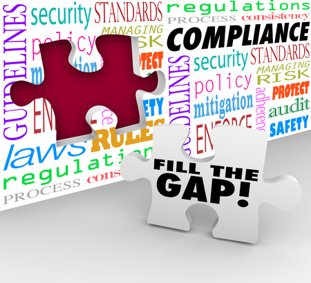 compliance: Fill the Gap words on a puzzle piece ready to be placed in a hole in a wall with words Compliance, guidelines, laws, regulations, security, process and more
