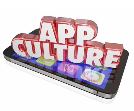 shared sharing: App Culture words in 3d red letters on a modern cell or mobile phone to illustrate addiction to  downloading software and applications Stock Photo