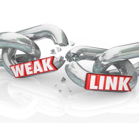 cadena rota: Enlace palabras débiles en eslabones rotos para ilustrar un artista malo o pobre que conduce al fracaso en una organización, negocio o empresa
