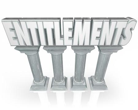 reforming: Derechos de palabra en letras 3d en m�rmol o piedra columnas para ilustrar las d�divas del gobierno o beneficios como la seguridad social, Medicare, Medicaid o el desempleo