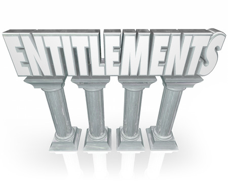 handout: Entitlements word in 3d letters on marble or stone columns to illustrate government handouts or benefits such as social security, medicare, medicaid or unemployment