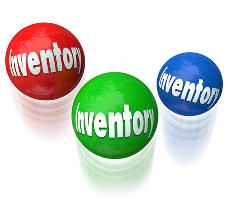 difficult task: Inventory word on balls being juggled in a difficult or challenging job, task or work to manage products in a warehouse or company shipping and receiving goods for customers