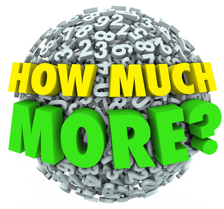 How Much More words asking your wants, needs, desires and cravings for additional quantities of objects such as food, or income like money, sales or income photo