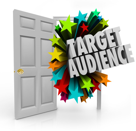 niche: Target Audience 3d words in an open door to illustrate searching for and finding niche prospects and clients through advertising and marketing