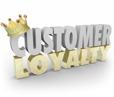 long lasting: Customer Loyalty words in 3d letters with gold crown to illustrate top or best repeat and return  Stock Photo