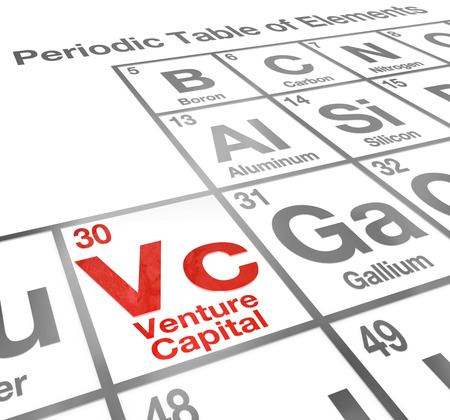 Venture Capital or VC words on a periodic table of elements to illustrate money funding and financing for your new startup  Stok Fotoğraf