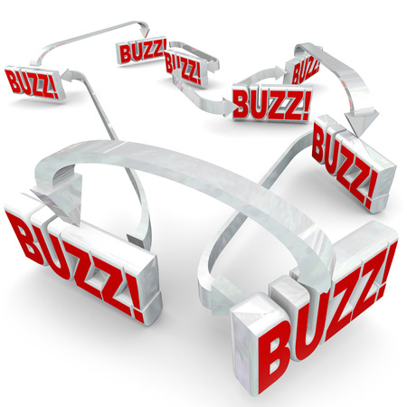 rumors: Buzz words in 3d letters connected by arrows to illustrate sharing or spreading hot news, gossip, rumors or information in a network or group of people