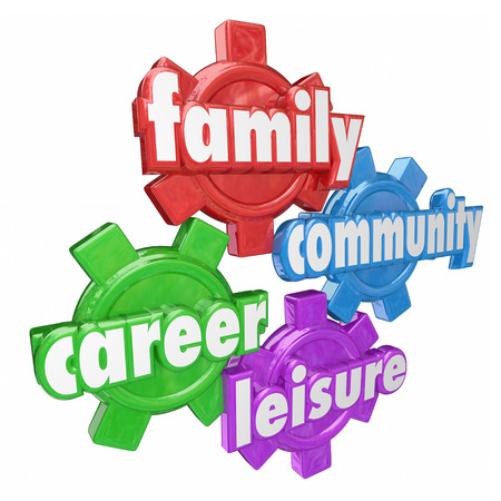 work area: Family, Career, Community and Leisure words on four gears to illustrate balancing time spent on most important areas in life