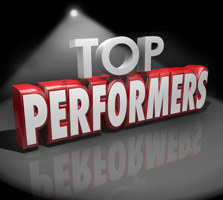 recognizing: Top Performers words in 3d red letters on stage under a spotlight to illustrate or recognize best workers, artists or people doing a great job